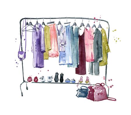 Clothes rail, watercolour illustration Stockfoto