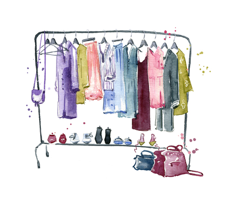 Clothes rail, watercolour illustration Фото со стока