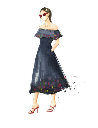 Summer look, watercolor fashion illustration