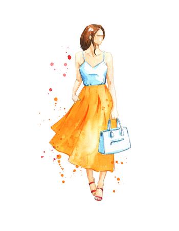 Summer look, watercolor fashion illustration