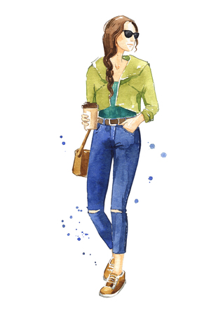 Casual street look, watercolor fashion illustration Stock Illustration - 102418013