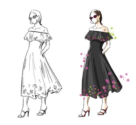 woman in a black summer dress, vector fashion illustration Foto de archivo - 102418022