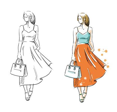 Summer look, vector fashion illustration Foto de archivo - 102418024