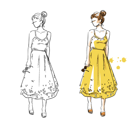 Summer look, girl in a yellow dress. Vector fashion illustration Foto de archivo - 102418027