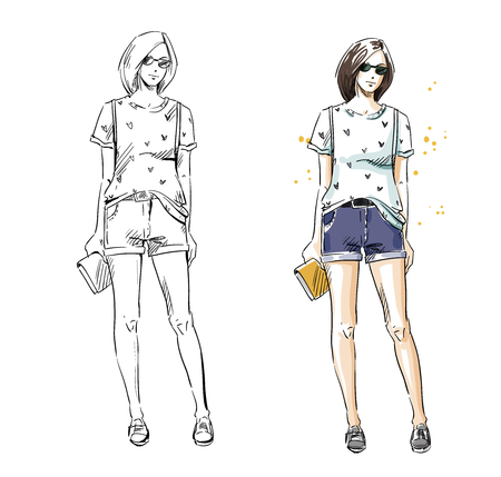 casual summer look, vector fashion illustration