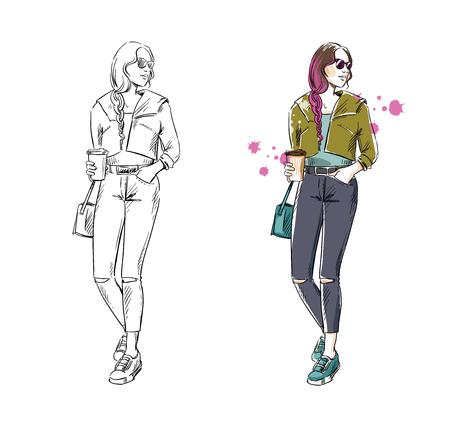 Casual street look, vector fashion illustration