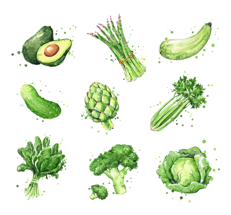 Assortment of green foods, watercolor vegtables illustration Banco de Imagens