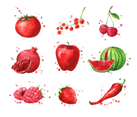 Assortment of red foods, watercolor fruit and vegtables