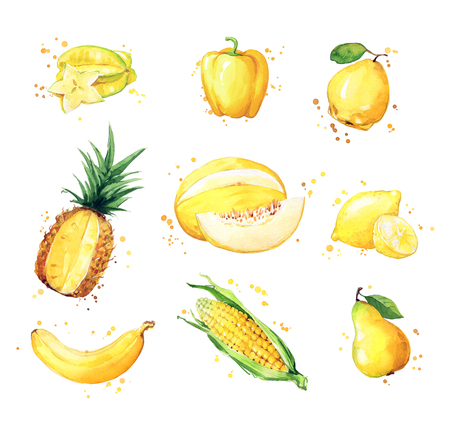Assortment of yellow foods, watercolor fruit and vegtables