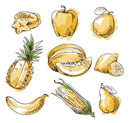 Assortment of yellow foods, fruit and vegtables, vector sketch