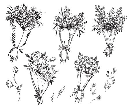 Set of hand drawn bouquets, vector sketch Stock Illustratie