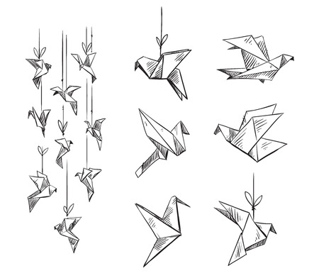 set of origami birds, vector sketch  イラスト・ベクター素材