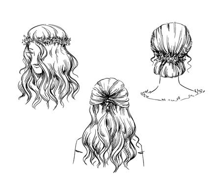 Set of hand drawn hairstyles, vector sketch. Fashion illustration. Ilustração