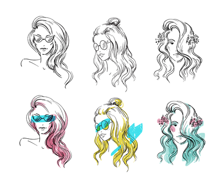 Set of hand drawn hairstyles, vector sketch. Fashion illustration. Ilustracja