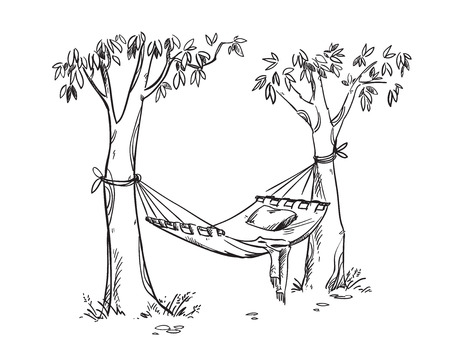 Cosy hammock in a garden. Vector line drawing Stock Illustratie
