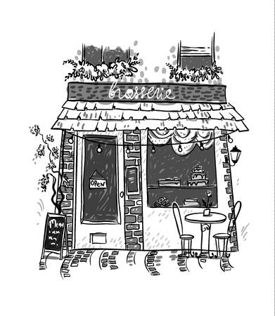 Brasserie. Little cosy cafe. Vector sketch