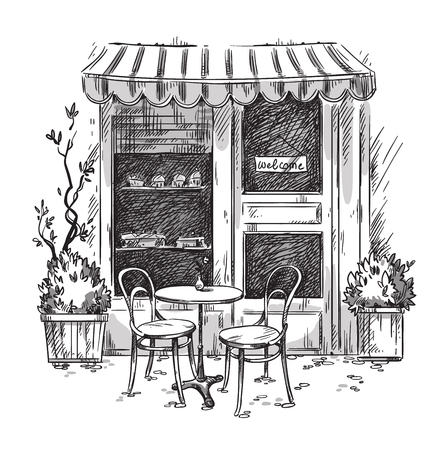 Little cosy cafe. Vector sketch Stock Illustratie