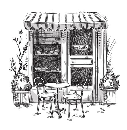 Pequeño café acogedor. Dibujo vectorial Foto de archivo - 107681074