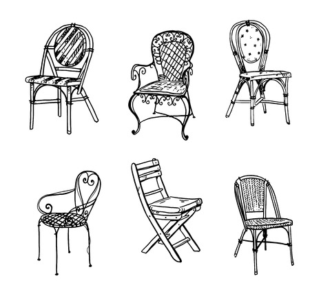 Set stoelen. Vector schets.