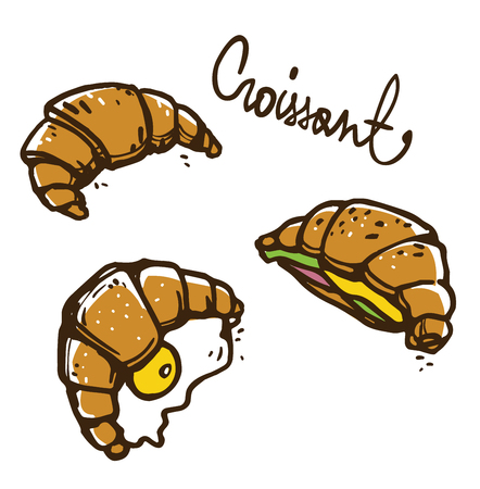 French croissants illustration, vector sketch.