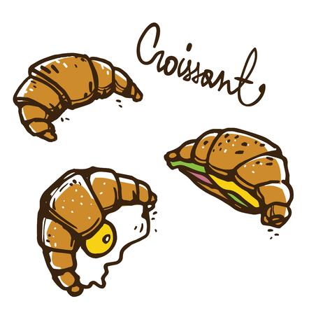 Ilustración de croissants franceses, dibujo vectorial.