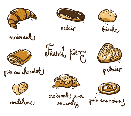 French pastry. Traditional baked desserts.  Vector sketch