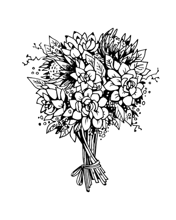 Bouquet of flowers. Black and white vector sketch