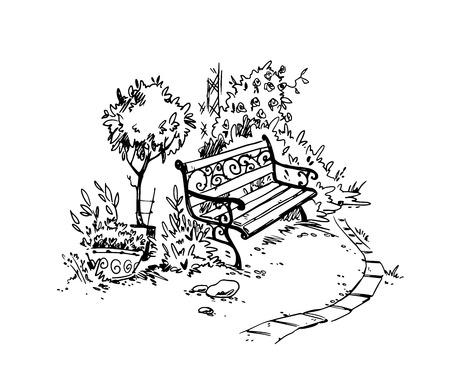 Coin jardin cosy. Banc. Croquis de vecteur