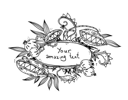 Floral design. Monster flower frame, vector drawing