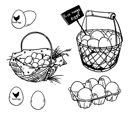 Set of farmer's eggs drawings Stock Illustratie