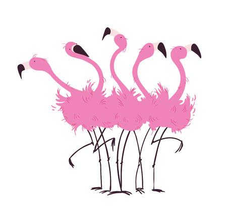 Bandada de flamencos Ilustración de vector