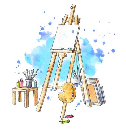 Aquarell Staffelei im Atelier Standard-Bild