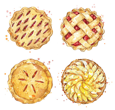 Set of home made pies, watercolor 版權商用圖片