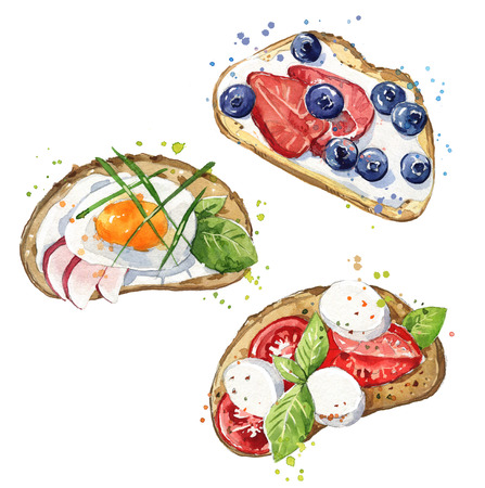 Watercolor sandwiches, hand painted snacks Stockfoto