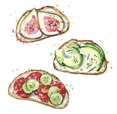 Watercolor sandwiches, hand painted snacks Banco de Imagens