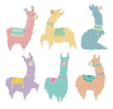 Set of six pretty hand drawn llama