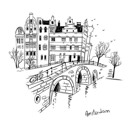 Skizze der Stadt Amsterdam.