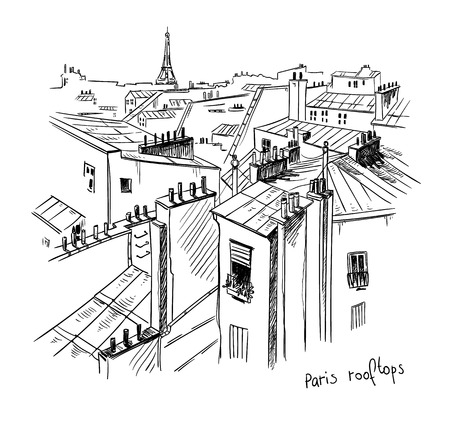 Paris rooftops. Illustration