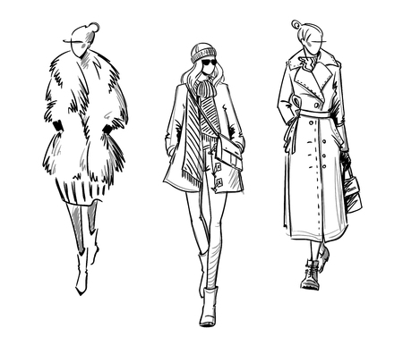 Winter look. Fashion illustration