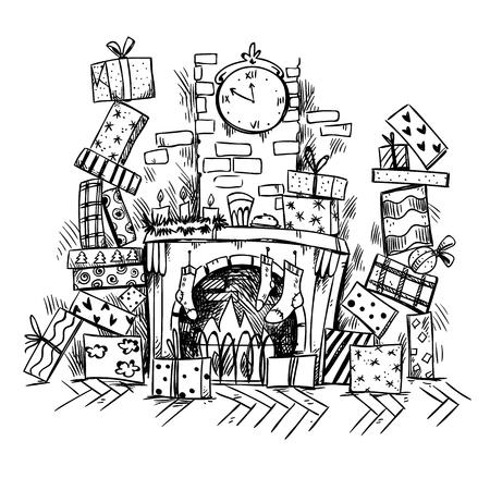 heaps of presents near Christmas Eve