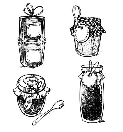 Set of hand drawn mason jars with jam