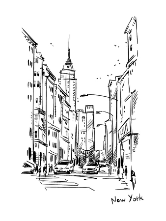 New York street sketch, urban scene