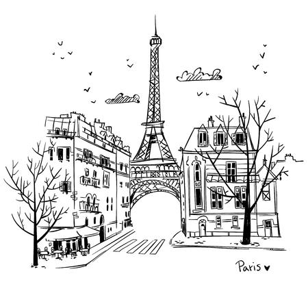 Parijs straten schets