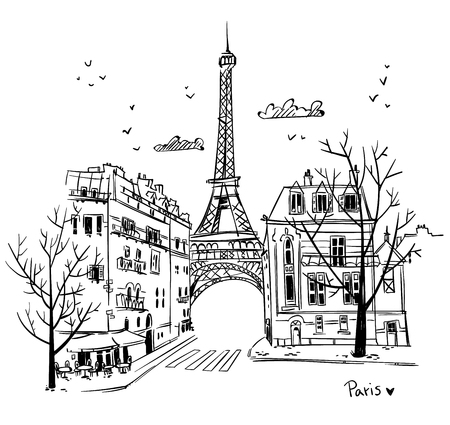 Paris streets sketch