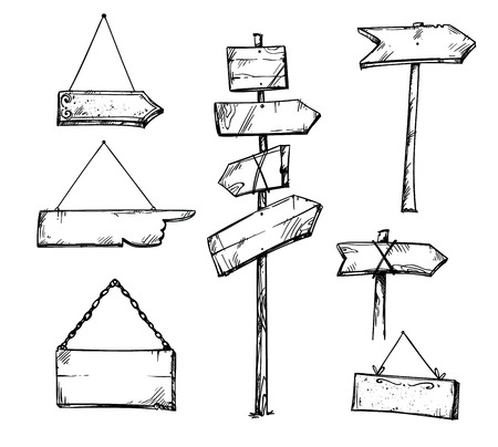 Set of wooden arrow signs, hand drawn