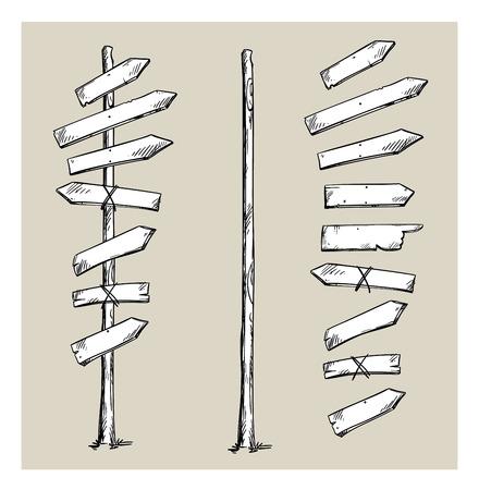 Poste indicador de madera con flechas Ilustración de vector