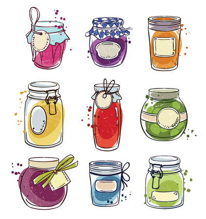 Set of hand drawn mason jars with jam