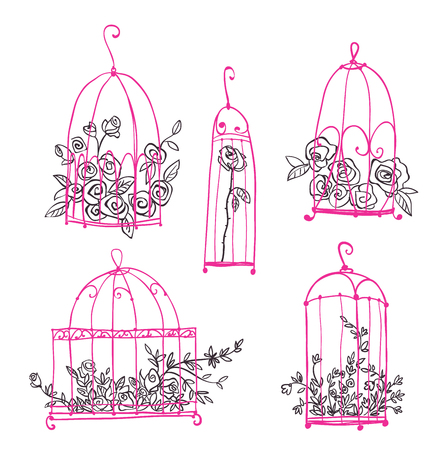 Set of decorative cages with flowers