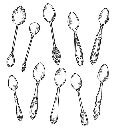 Set di cucchiai, illustrazione disegnata a mano di vettore