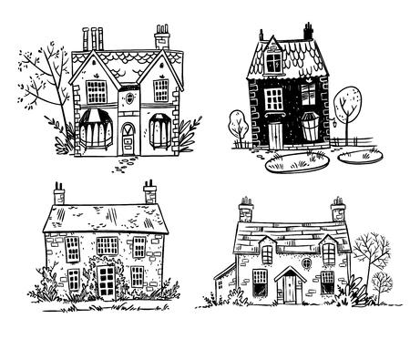 Conjunto de bonitas cabañas inglesas de dibujos animados